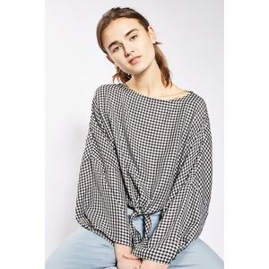 TOPSHOP Gingham Knot Front Top